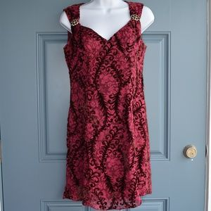 Burgundy Sheer Cocktail Dress by Nanette Lapore